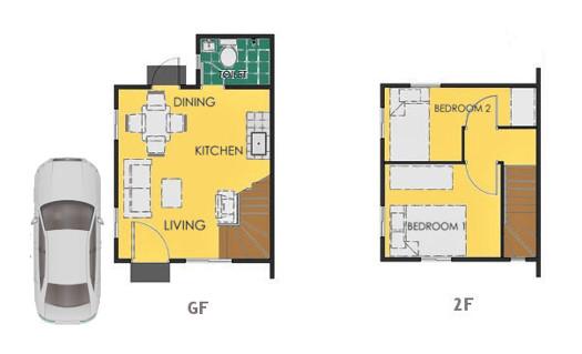 Reva Floor Plan House and Lot in Calamba